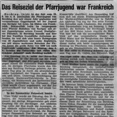 Artikel im Neumarkter Tagblatt im September 1973