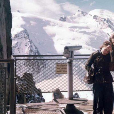 Auf dem Agui du Midi mit Blick auf den Mont Blanc